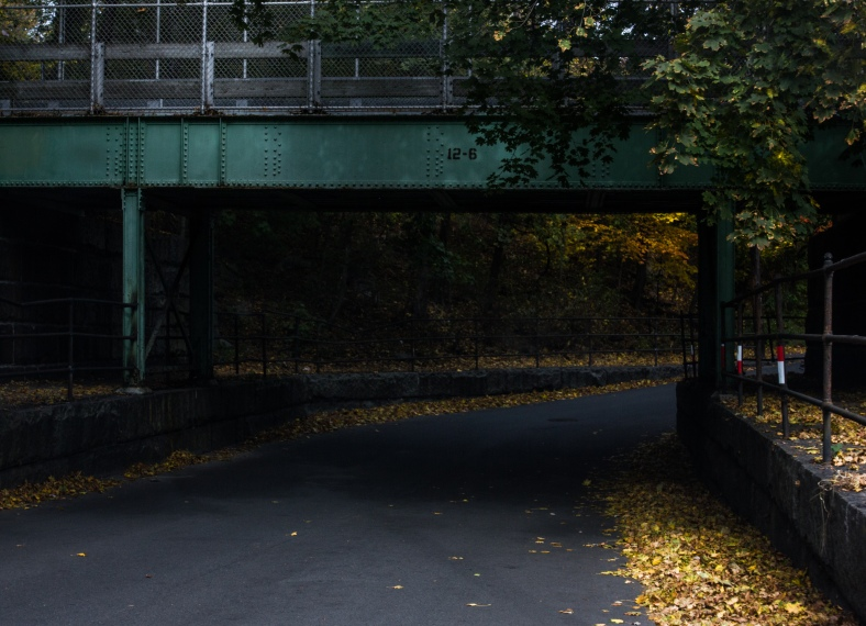 The old railroad bridge that now supports the Minuteman Bikeway over Forest Street. October 22, 2013.
