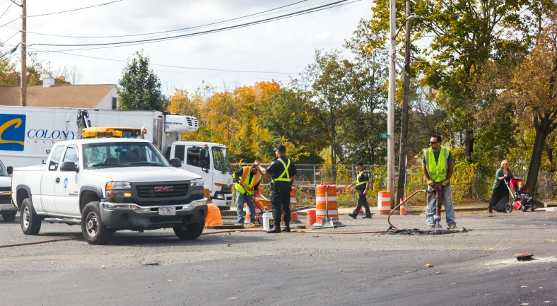 Much needed roadwork on Downing Square in Arlington Heights. October 22, 2013.
