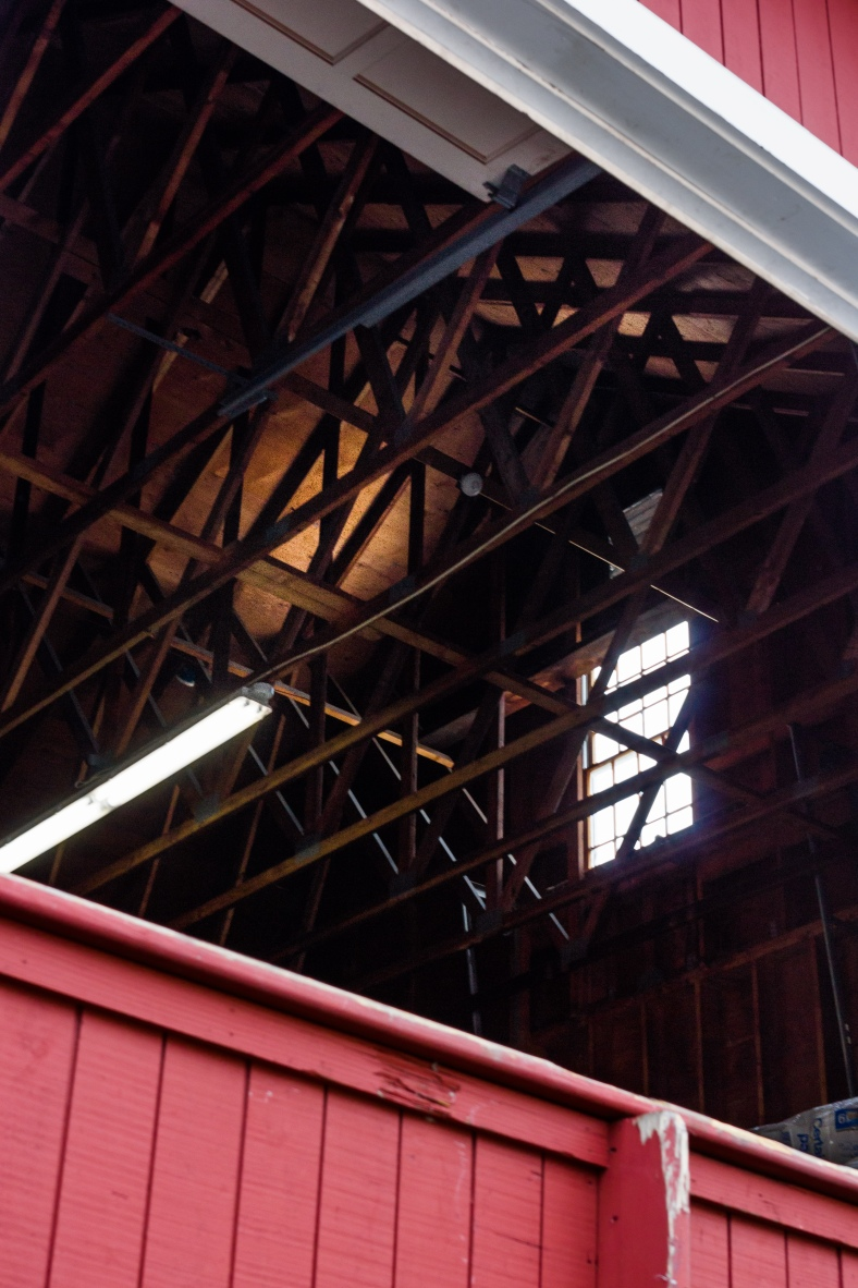 A view up into the rafters of the Union Hall (c. 1875) on Park Avenue which is now a storage space for Arlington Coal and Lumber. October 22, 2013.