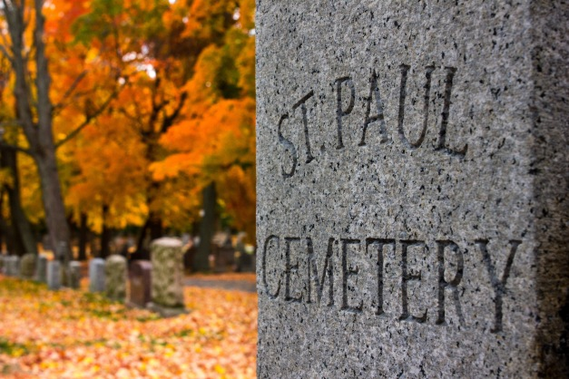 The main gate of St. Paul Cemetery on Broadway in East Arlington. October 22, 2013.