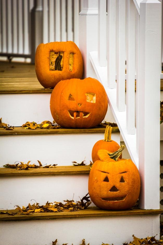 Jack o' lanterns on the steps of a Woodside Lane home. November 15, 2013.