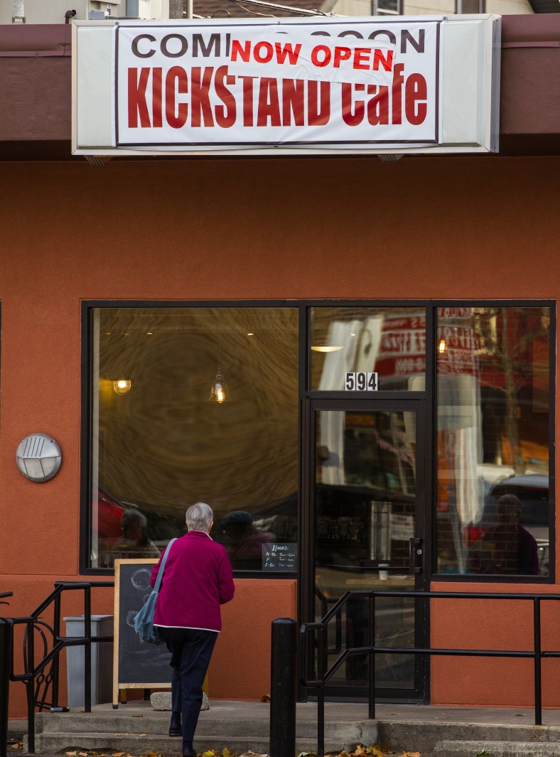 Previously Jam 'n' Java, the Kickstand Cafe is now open in Arlington Center. November 15, 2013.