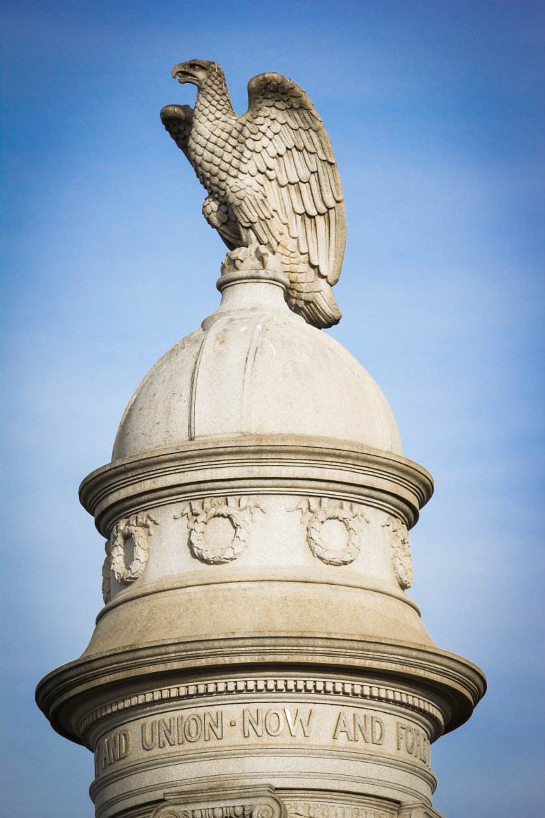 The finial atop the Civil War monument in Arlington Center. November 15, 2013.