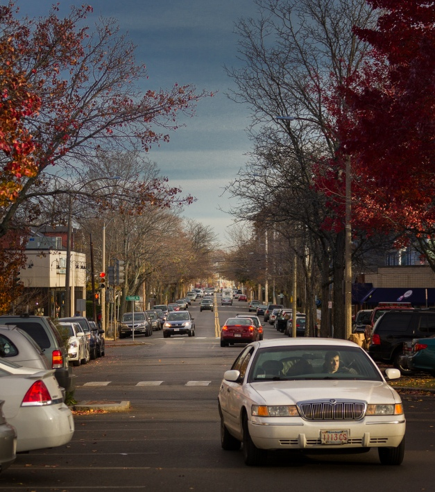 A view into East Arlington down Broadway. November 15, 2013.