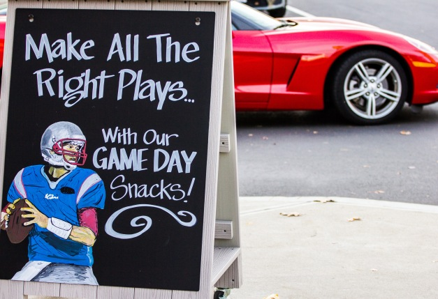 A football themed  advertisement outside Whole Foods. November 15, 2013.