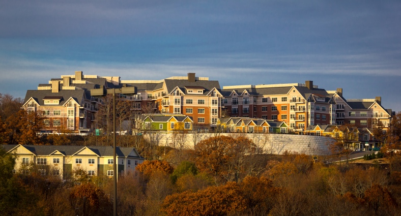A view of the almost completed Arlington 360 apartments in the setting sun. November 15, 2013.