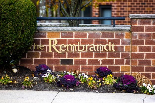 A sign for an apartment building along Massachusetts Avenue. November 15, 2013.