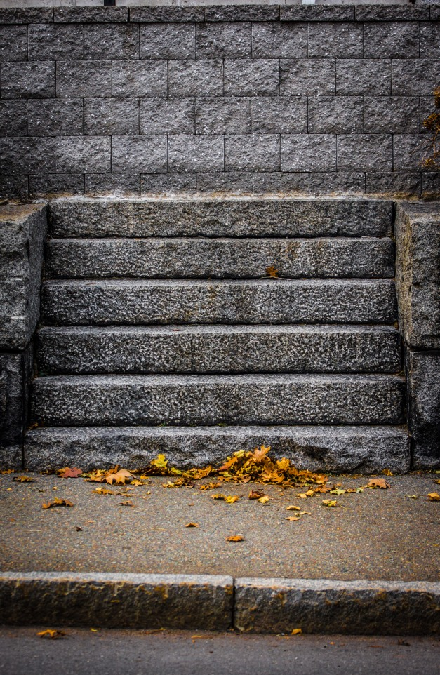 Steps leading up to a retaining wall on Brattle Street. November 15, 2013.