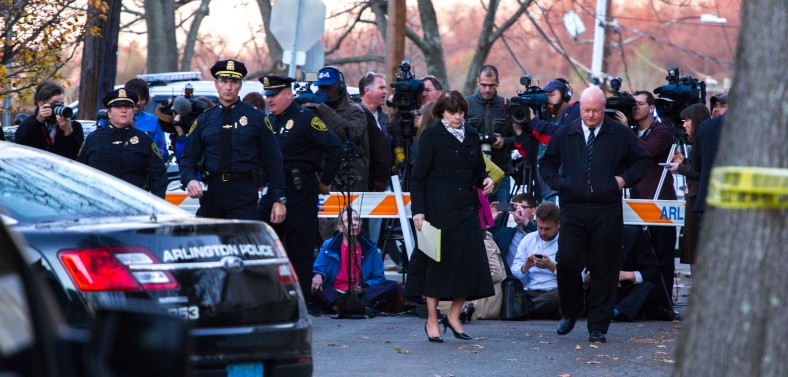 Chief of Police Frederick Ryan and Middlesex District Attorney Marian T. Ryan walk away from a crowd of reporters after giving a press conference about the tragedy on Newland Road. November 18, 2013.