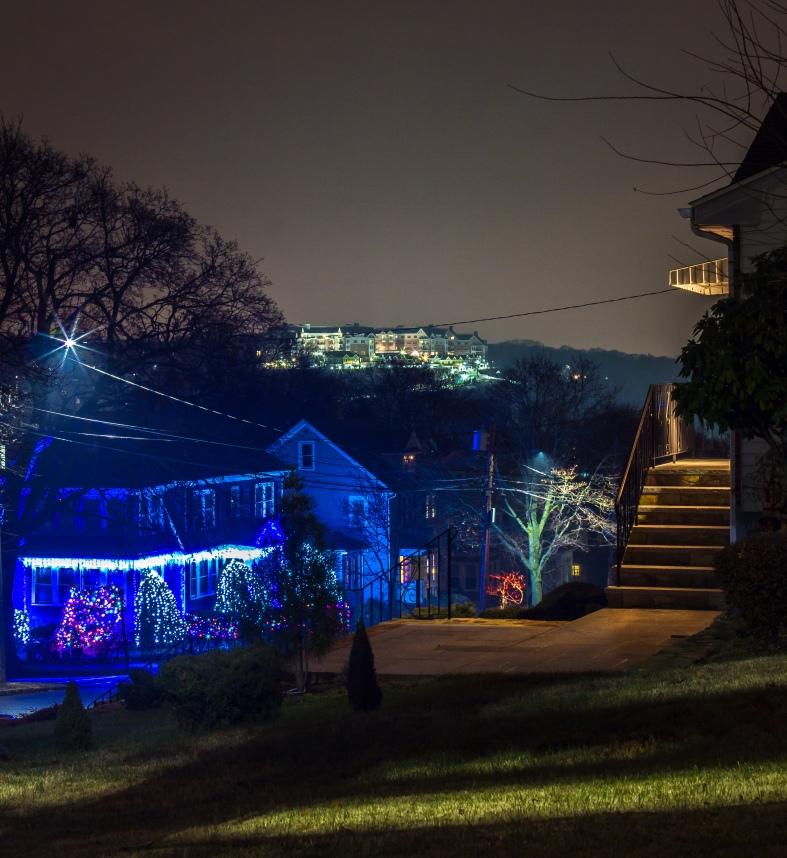 Arlington 360 illuminated at night as seen from across town. December 5, 2013.