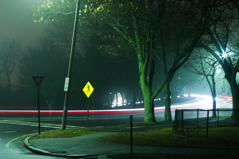 A view of the Mystic Valley Parkway from Medford Street on a slightly foggy night. December 5, 2013.