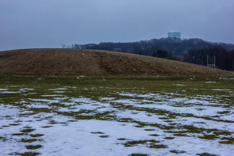 The Turkey Hill water tower seen through the rain from McClennen Park. December 23, 2013.