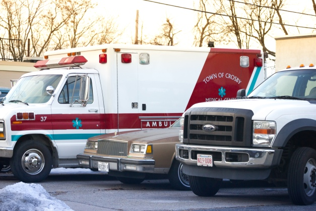 An ambulance in the lot of Anderson Automotive, no doubt a vehicle used in an upcoming feature film. December 24, 2014.