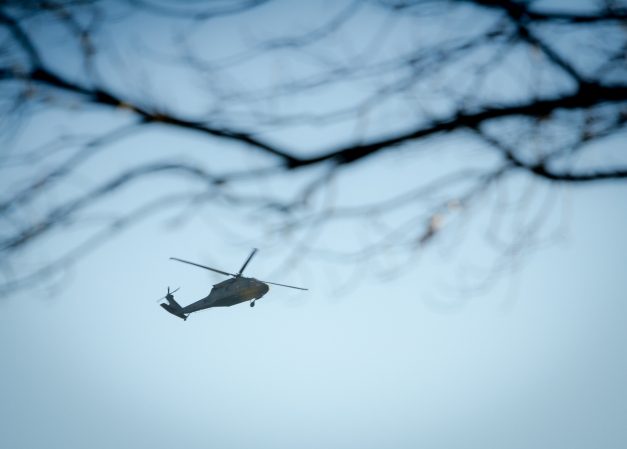 A helicopter seen circling the skies above Arlington Heights. January 23, 2014.