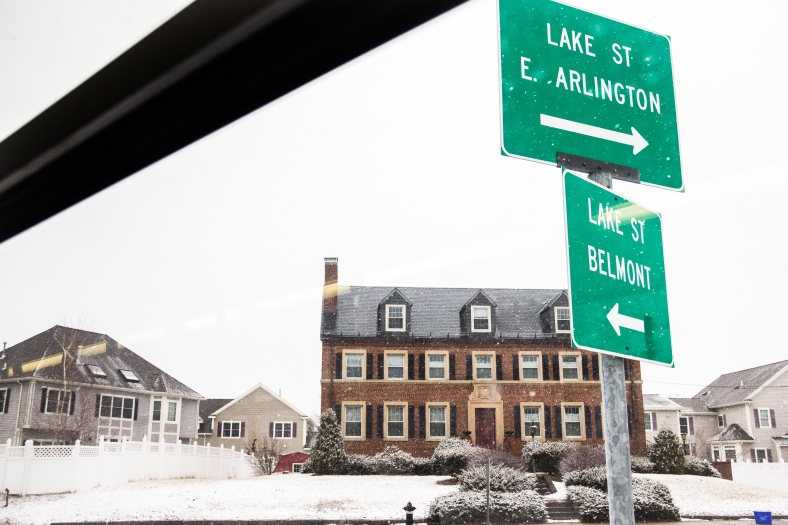 The signs at the intersection of Lake Street and Route 2. February 3, 2014.