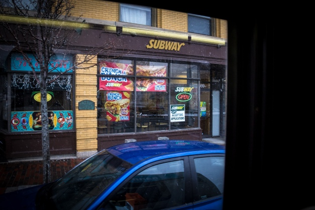 A storefront that has rotated through a few chain sandwich restaurants in the past few years. February 3, 2014.