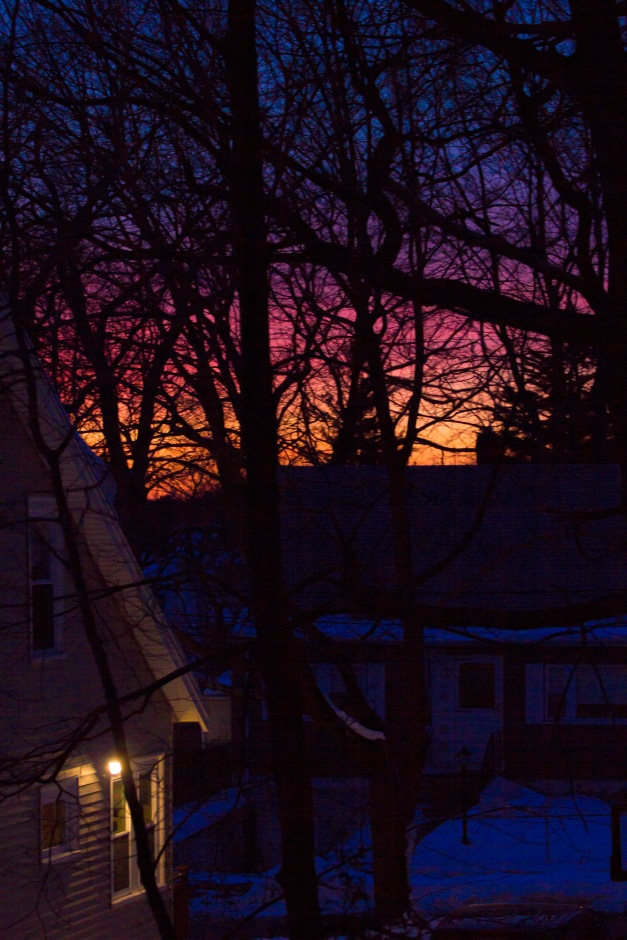 The colors of a winter sky over a quiet Arlington Heights neighborhood. February 12, 2014.