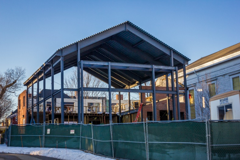 The large frame of a new wing of the Pleasant Street Congregational Church. February 22, 2014.
