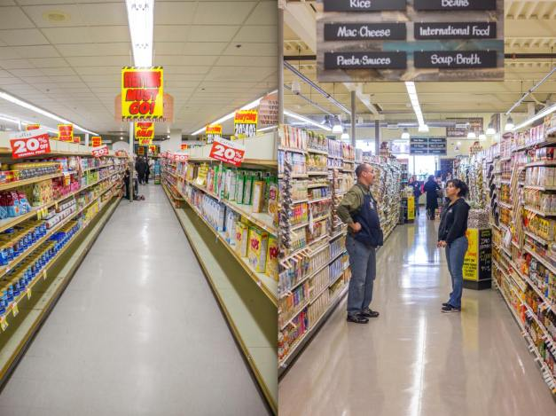 On the left, Johnnie's Foodmaster in its final days, November 2012. On the right, the opening day of Whole Foods in the same location, September 2013.