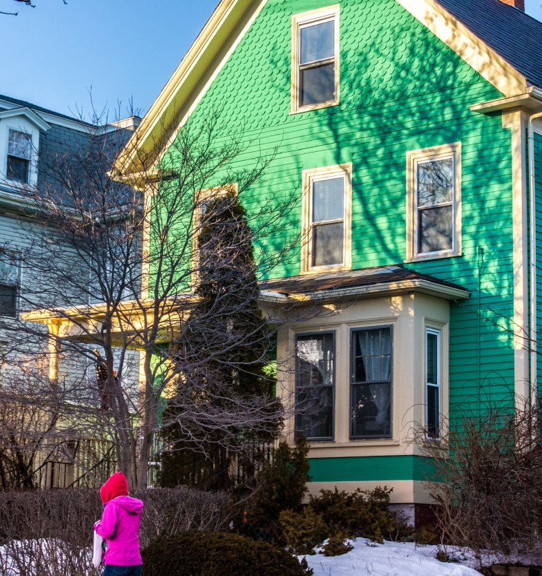 A woman in a brightly colored jacket walks past a house with a brightly colored coat on Massachusetts Avenue. February 22, 2014. SC