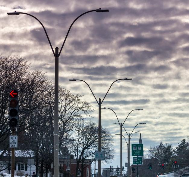 An interesting cloud pattern over route 60 through Arlington Center. March 8, 2014. SC