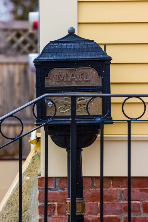 A mailbox on the front porch of a Park Street home. March 8, 2014.