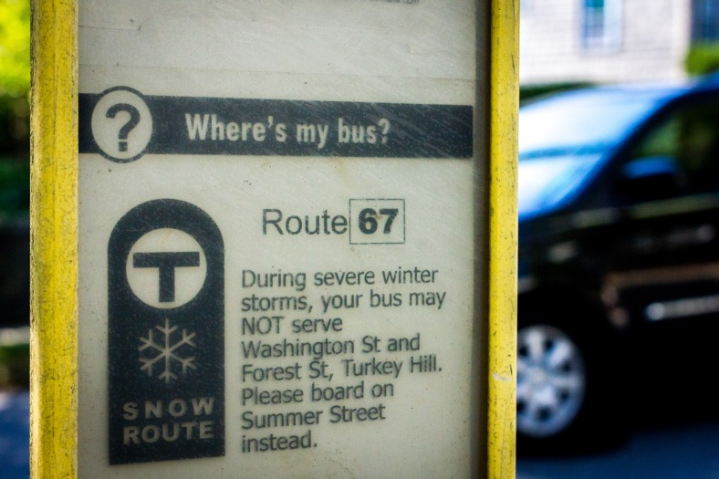 A posting of the snow contingency for the route 67 bus at a stop on Washington Street. September 11, 2013.
