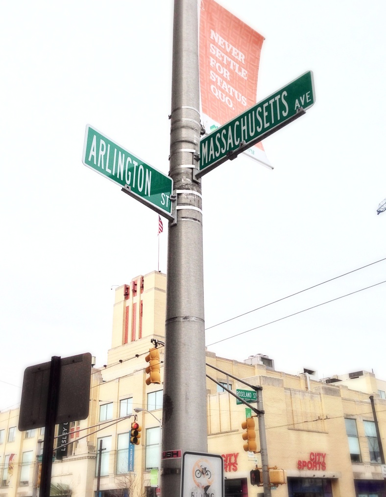 Street signs in Porter Square. April 8, 2014.