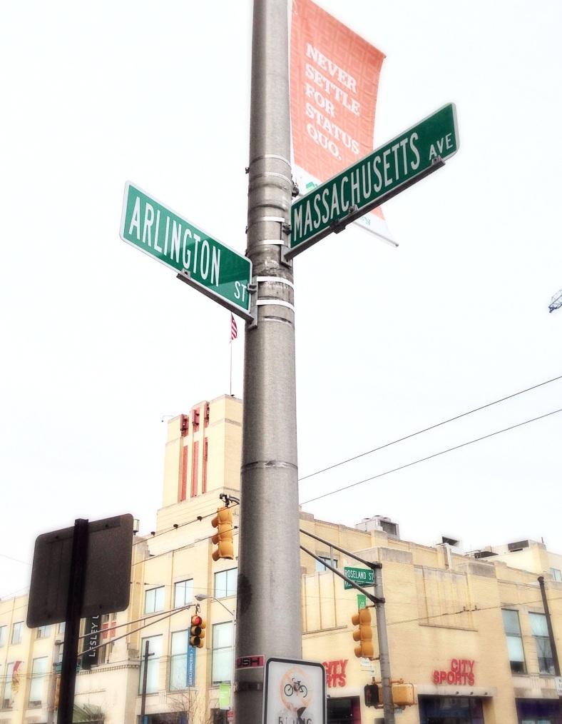 Street signs in Porter Square. April 8, 2014.