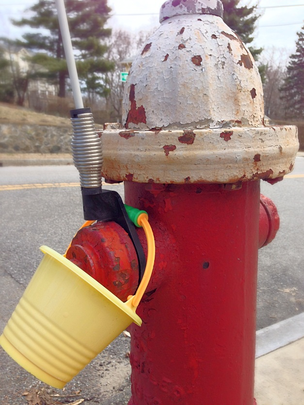 A plastic pail left on a fire hydrant on Hemlock Street. April 4, 2014.