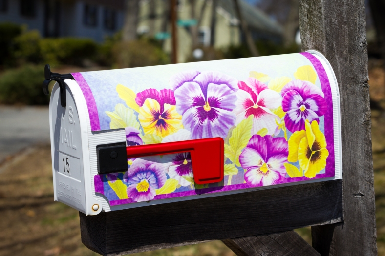 A mailbox, brightly decorated for spring, on Hodge Road. April 12, 2014.