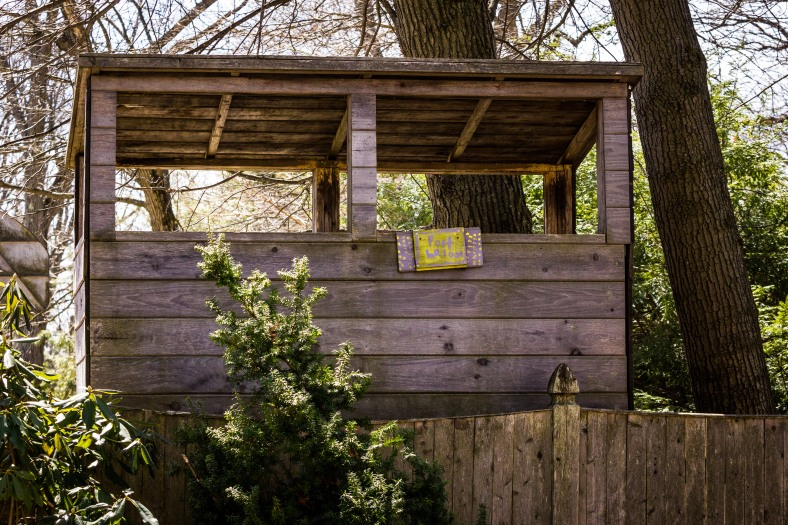 A tree fort overlooking Winchester Road. April 12, 2014.