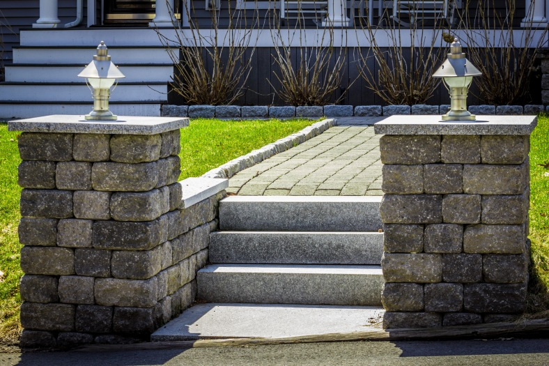 A stonework walkway leading to the front door of a Morningside Drive home. April 12, 2014.