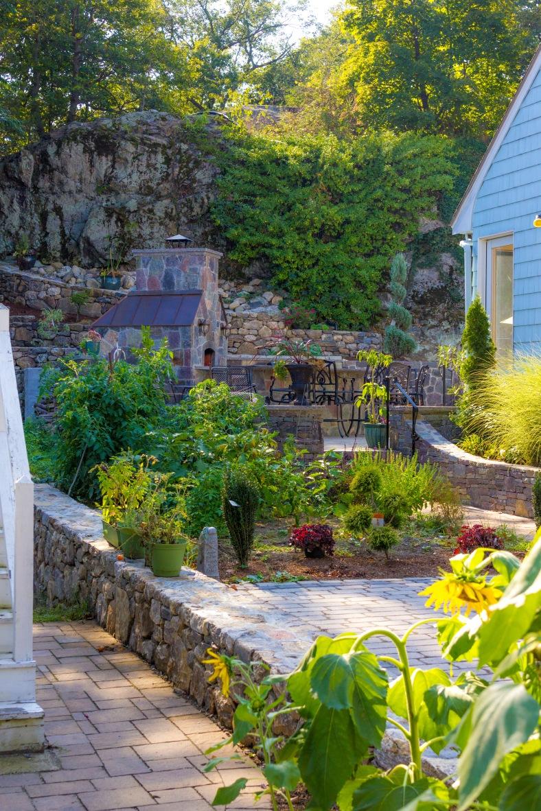 Stonework in the garden of a Hemlock Street home. September 11, 2013.