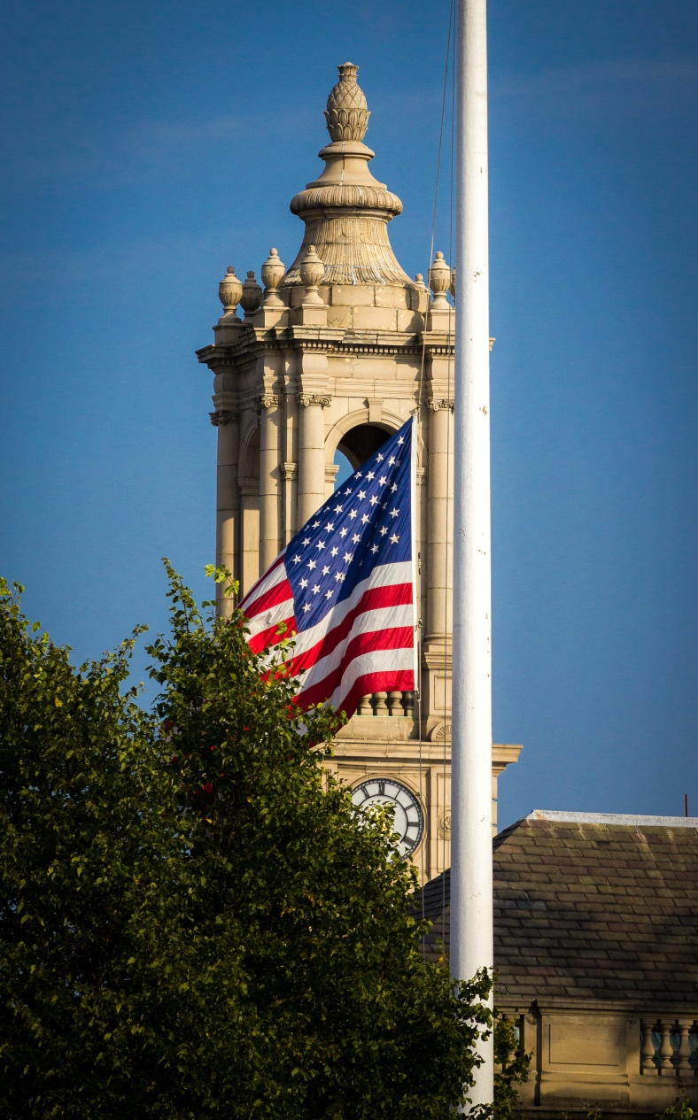 The flag of the United States of America flying at half staff at Town Hall. September 12, 2013.