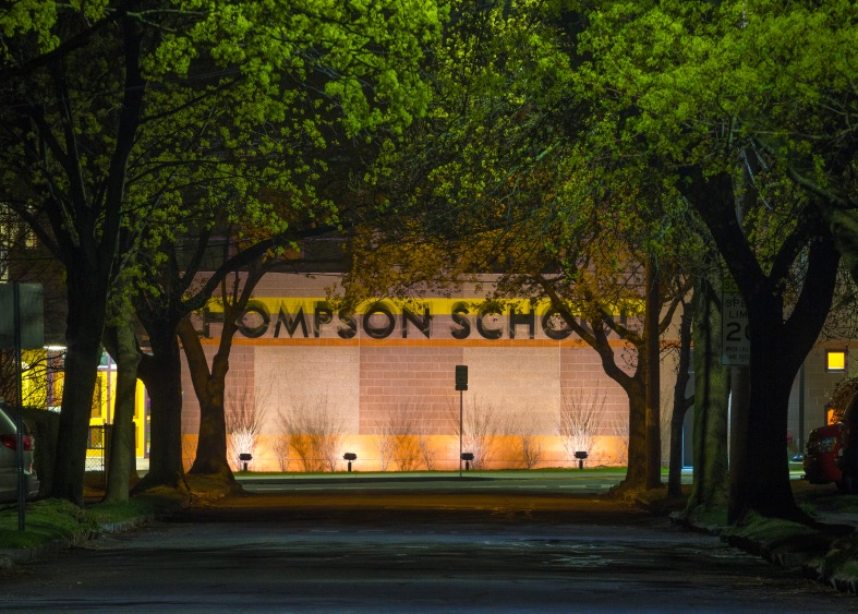 The nighttime view of the Thompson Elementary School down University Road. May 2, 2014.