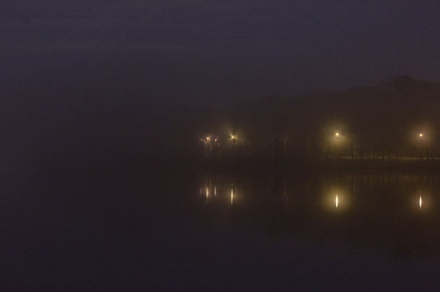 A view across the Lower Mystic Lake on a misty spring night. May 2, 2014.