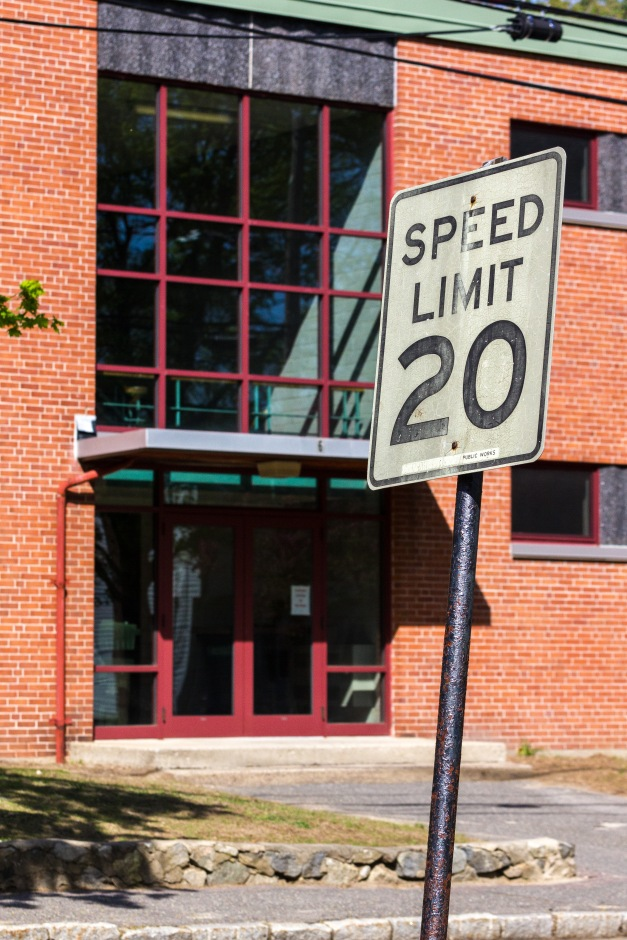 A twenty mile per hour speed limit posted on Pheasant Avenue passing Stratton Elementary School. May 12, 2014.