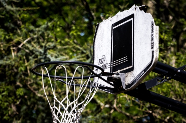 The broken backboard of a basketball goal on Stone Road. May 12, 2014.