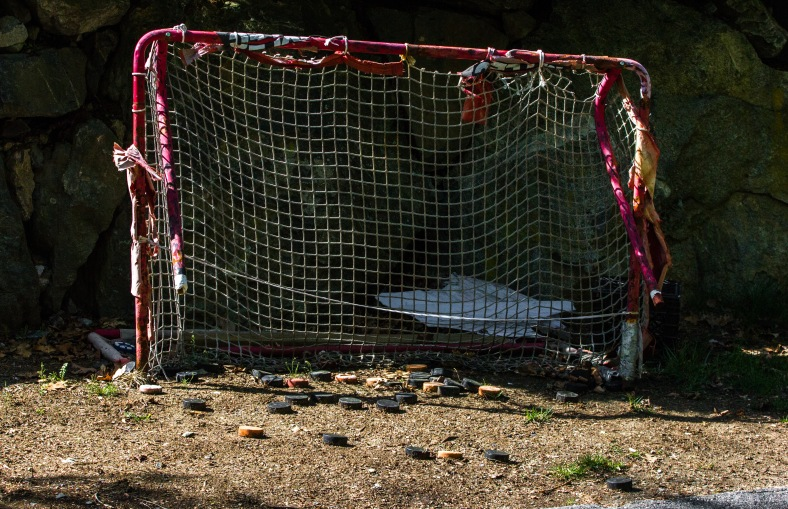 A plethora of pucks to shoot and a well-used practice net on Stone Road. May 12, 2014.