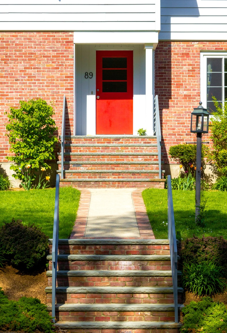 A red door on a Ridge Street home. May 12, 2014.