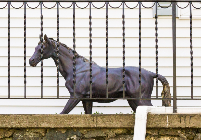 A large horse statute on the porch of a Ridge Street home. May 12, 2014.