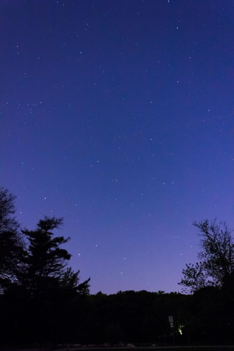 The starry night sky over Hills Pond in Menotomy Rocks Park. June 1, 2014.