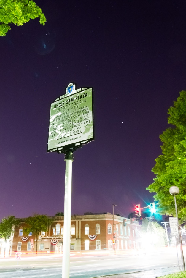 The nine month old historical information sign marking Uncle Sam Plaza stands tall in Arlington Center. June 1, 2014.