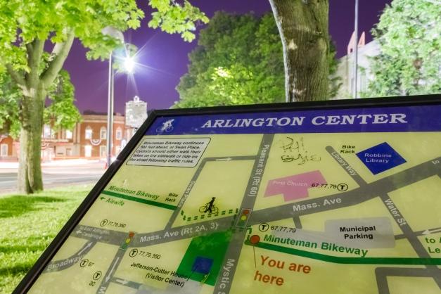 An information board along the Minuteman Bikeway at the Arlington Center crossing. June 1, 2014.