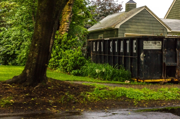 A disposal unit in the yard of a Ridge Street home. June 10, 2014.