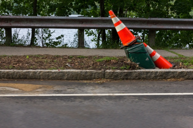 Cones mark a light post along Mystic Valley Parkway, removed after a driver knocked it diagonal on June 9th. June 10, 2014.