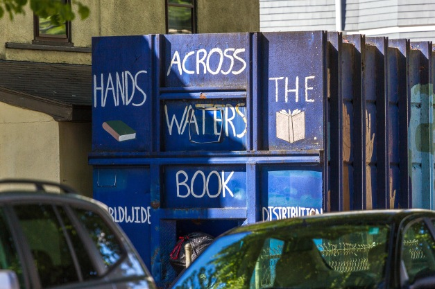 A charity book container on Amsden Street. June 20, 2014.