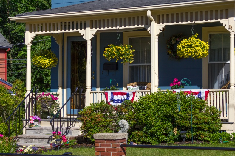 A front porch decorated with bunting along Teel Street in East Arlington. June 20, 2014.