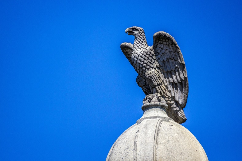The eagle atop the Civil War memorial constantly keeping a watch over Arlington Center. June 27, 2014.